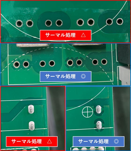 基板実装VA・VE 電源パターンのサーマル処理設計